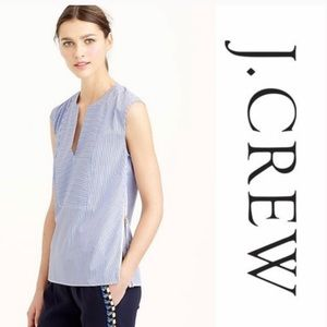 J Crew Rose Gold Side-Zips Top Stripe Blue White